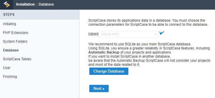 We can choose the database that ScriptCase will use to store the data in