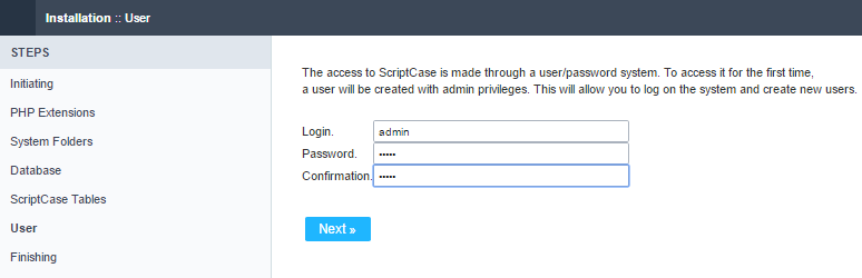 Setting up the user to access ScriptCase