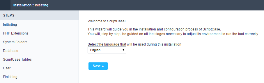 Installation's initial page