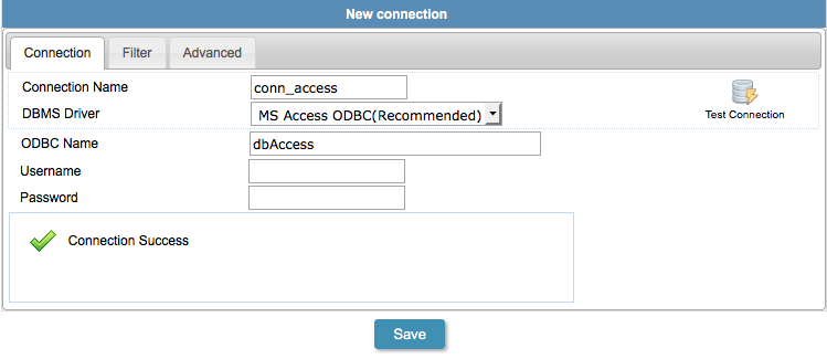 Connecting with Access using ODBC