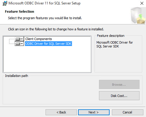 Connecting with MS SQL Server ODBC
