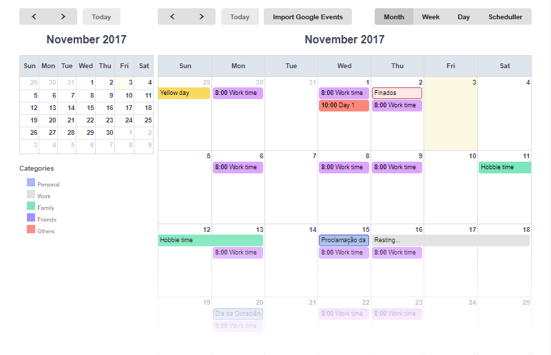 Calendar - Features - Scriptcase